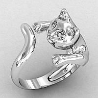 Серебряное Кольцо  женское Кошка Большая, фото 1