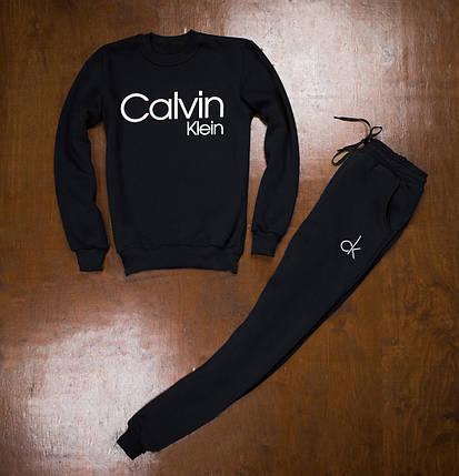 Теплый спортивный костюм без капюшона черного цвета, фото 2