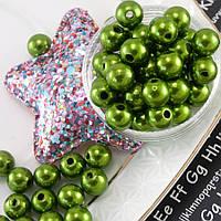 "(20 грамм) Жемчуг бусины пластик Ø8мм ""SOHHI"" (прим. 80-90шт) Цвет - Зеленый"