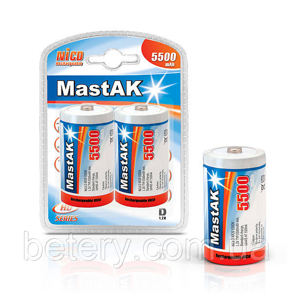 Аккумулятор MastAK R20 1,2v 5500mAh Ni-Cd  (2шт.)