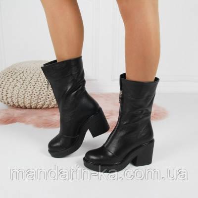 Женские  зимние  ботинки  черные натуральная кожа