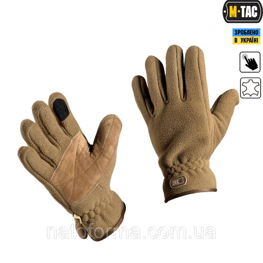 Перчатки флисовые M-Tac, Winter Tactical Windblock, койот