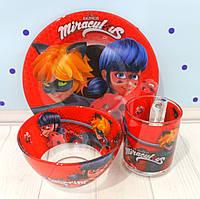 Набор детской стеклянной посуды из трех предметов 3в1 Леди Баг и Супер-Кот Miraculous