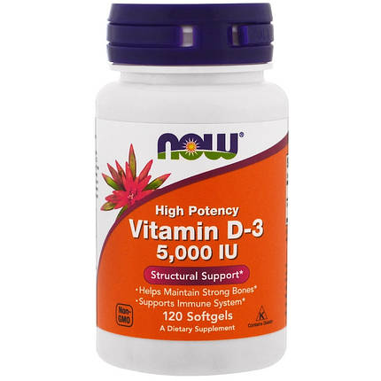 NOW Foods Vitamin D-3 High Potency 5,000 IU 120 Softgels, фото 2