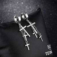 Серьги женские стальные с крестами на цепочках