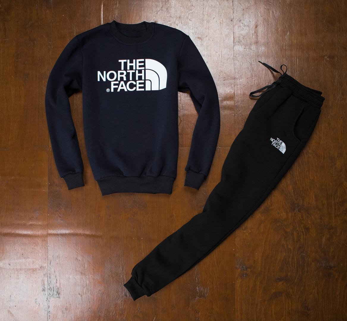 Теплый спортивный костюм The North Face сине-черный топ реплика