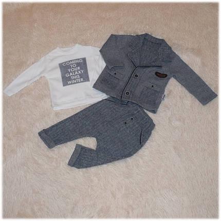 Костюм на мальчика пиджак + реглан + штаны демисезонный теплый Турция  размер 74 80 86 , фото 2