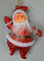 Новорічна іграшка Санта блискучий 12 см Новогодняя игрушка Санта блистящий