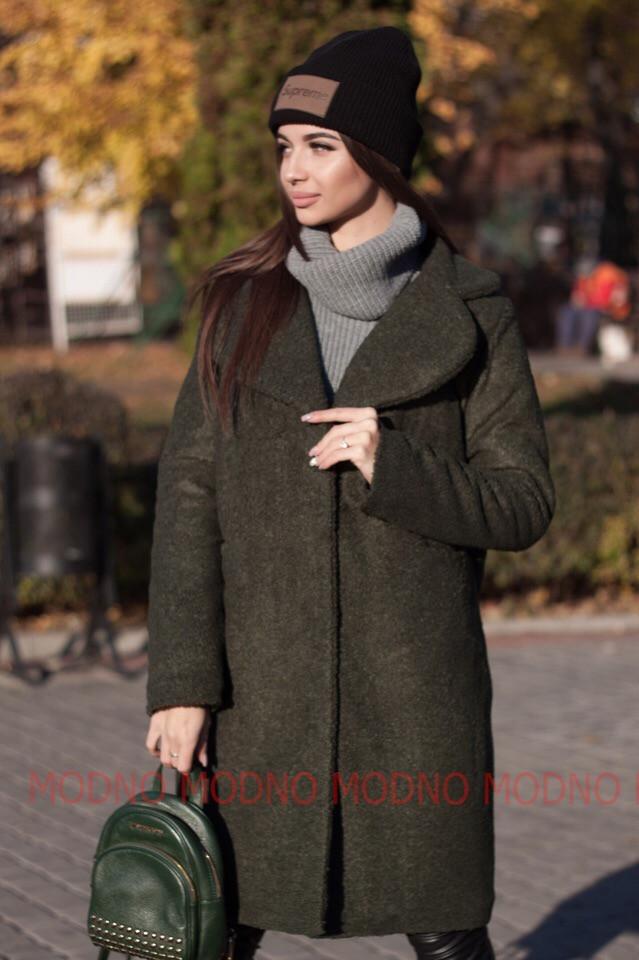 Женское теплое Пальто из экомеха 71pt158