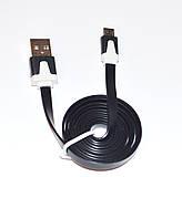 Кабель USB универсальный micro usb 2.0 чёрный плоский