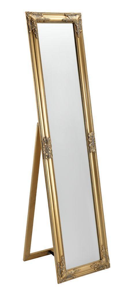 Напольное большое зеркало с ножкой 160 см золото