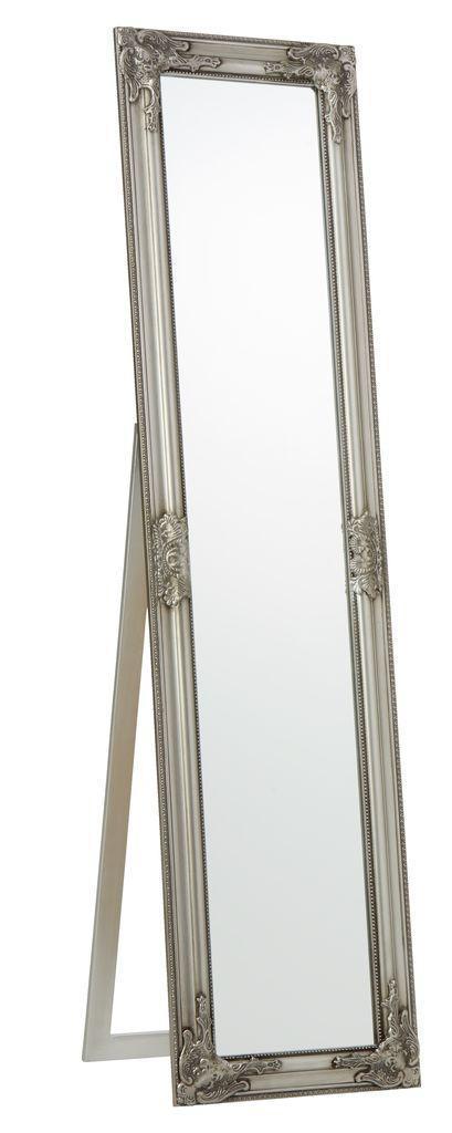 Напольное большое зеркало с ножкой 160 см серебро