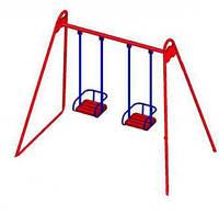 Детские качели двойные на жёсткой сцепке для детской площадки