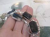 Черный турмалин ожерелье шерл натуральный черный турмалин в серебре Индия, фото 5
