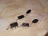 Черный турмалин ожерелье шерл натуральный черный турмалин в серебре Индия, фото 4