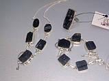 Черный турмалин ожерелье шерл натуральный черный турмалин в серебре Индия, фото 3