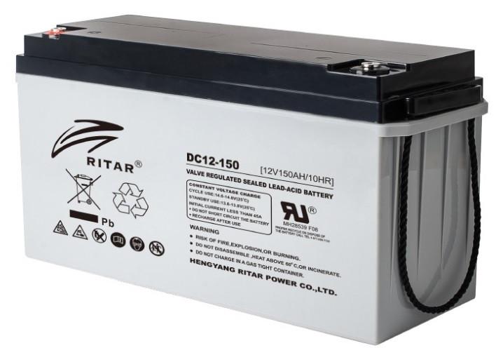 Аккумуляторная батарея AGM RITAR DC12-150, Gray Case, 12V 150Ah (495*185*280) 45 кг