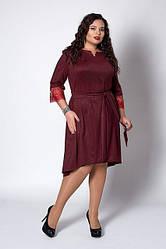 Сукні з мереживними рукавами 574-2 бордо