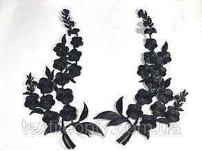 Нашивка Ветка Цветов вышитая черная 130x270 мм правая, фото 2