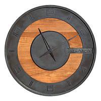 БЕТОННЫЕ ЧАСЫ LORI black/wood, 64 см, Agara