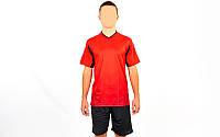 Футбольная форма подростковая Rhomb 11B-R (PL, р-р (24-30) 120-150см, красный, шорты черные)