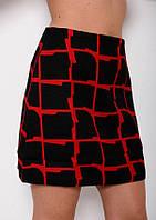 Черная юбка принтованная декоративной красной клеткой  (есть размеры)