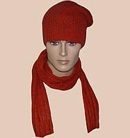 Мужская вязаная шапка-носок объемной вязки и шарф-трубочка