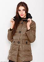 3338690bd829 Коричневая стеганая куртка на молнии с клапаном и шерстяным воротником на  меху