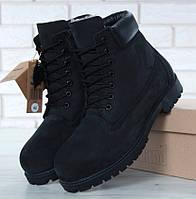 Мужские, женские зимние ботинки в стиле Timberland 6 inch Black с натуральным мехом