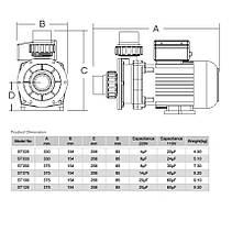Насос Emaux ST020 (220В, 3.5 м3/час, 0.2НР) (bf) (без префильтра), для аттракционов (без префильтра), фото 2