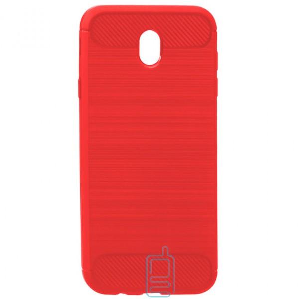 Чехол силиконовый Polished Carbon Samsung J7 2017 J730 красный