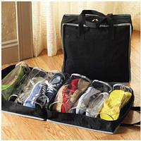 Сумка-органайзер для взуття Shoe Tote Bag,колір чорний / Сумка-органайзер для обуви, черная (для 6 пар)