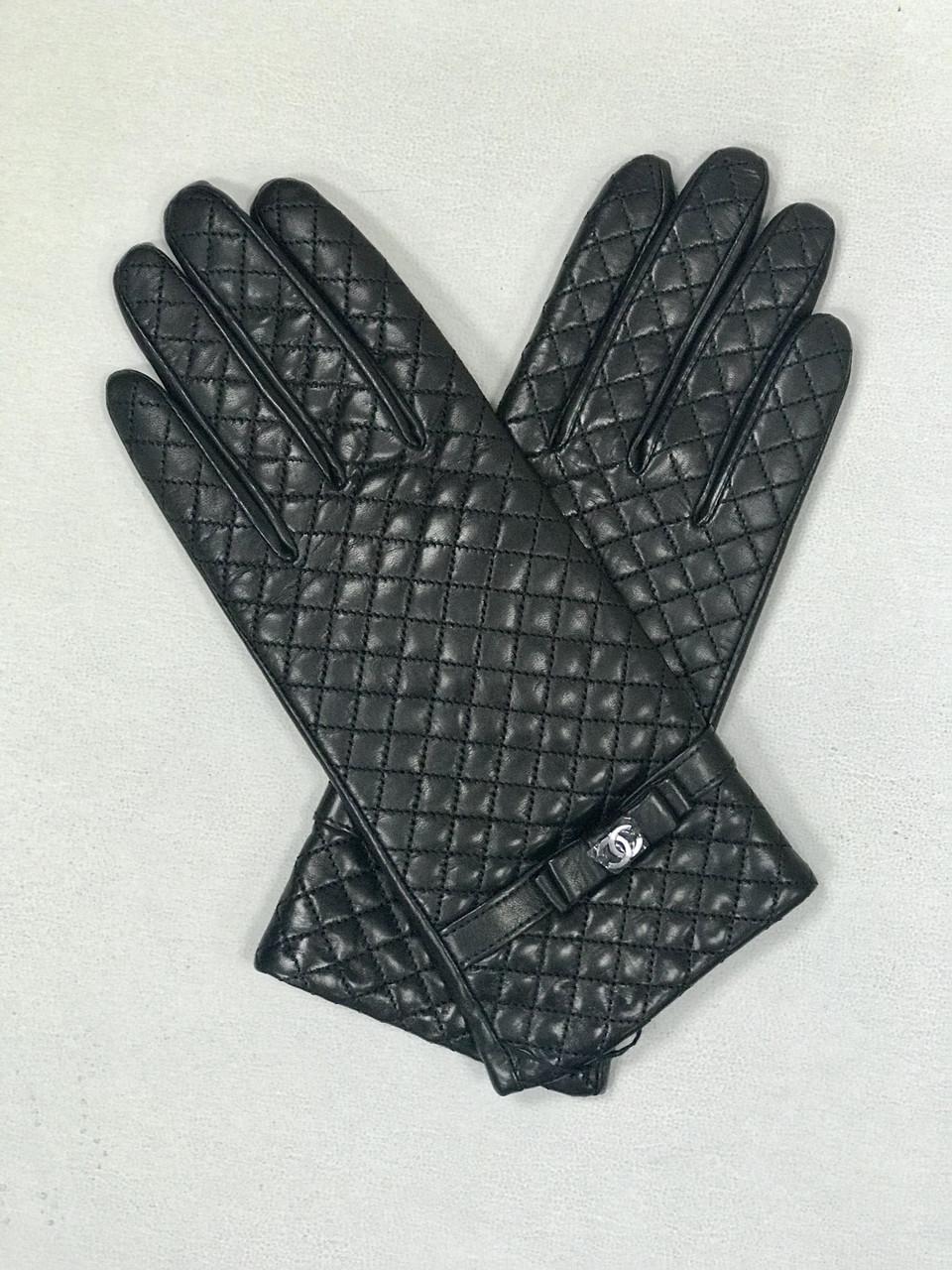 Перчатки женские кожаные черные бренд LUX копия