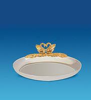 Хрустальное блюдце Лебеди с позолотой