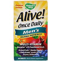 Natures Way, Alive! Раз в день, мультивитамины для мужчин, 60 таблеток