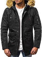 Парка мужская Stars черная зимняя. Куртка удлиненная. Теплая курточка