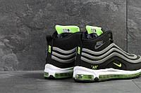 Зимние мужские кроссовки Nike 6812 черные с зелёным, фото 1