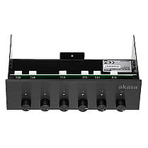 Akasa Передняя панель AK-FC-08BKV2 Дисплей Шестиканальный контроллер вентилятора для 5.25 дюймов PC Drive Bay, фото 3