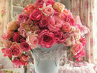 Алмазная вышивка 5D, Розы на столе 40*30
