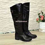 Ботфорты кожаные женские демисезонные на каблуке, черного цвета. 40 размер, фото 4