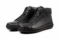Ботинки мужские зимние черные кожаные с мехом повседневные Emperio Black Leather Winter