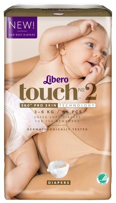 Libero Дышащие детские подгузники Touch 2 (3-6 кг), 66 шт