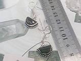 Черный турмалин шерл серьги с натуральным черным турмалином в серебре Индия, фото 4