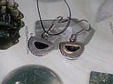 Черный турмалин шерл серьги с натуральным черным турмалином в серебре Индия, фото 5