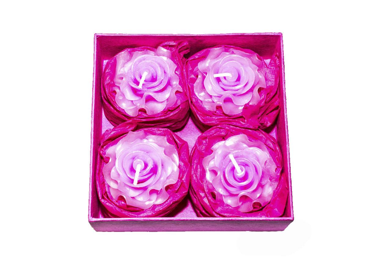 Набор из 4 свечей «Роза» в подарочной коробке