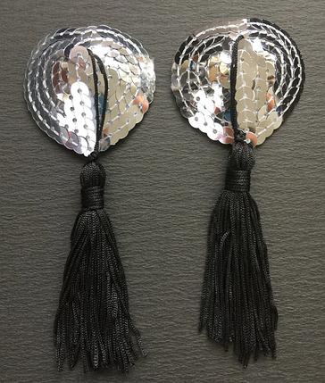 Стикини с кисточкой серебристые, фото 2