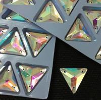 Стразы пришивные Треугольник 12 мм Crystal AB, стекло