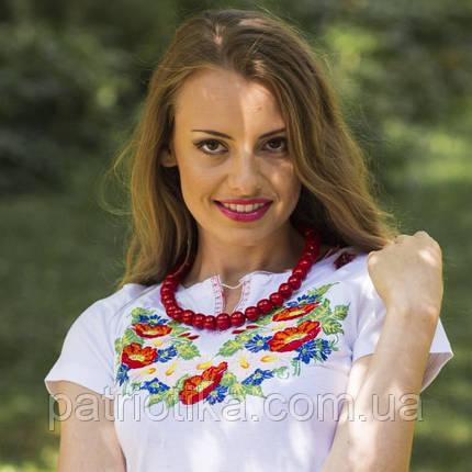 Женская вышиванка короткий рукав полевые цветы | Жіноча вишиванка короткий рукав польові квіти, фото 2