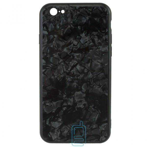 Чехол накладка Glass Case Мрамор Apple iPhone 6, 6S черный