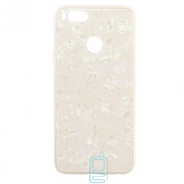 Чехол накладка Glass Case Мрамор Xiaomi Mi5x, Mi A1 белый